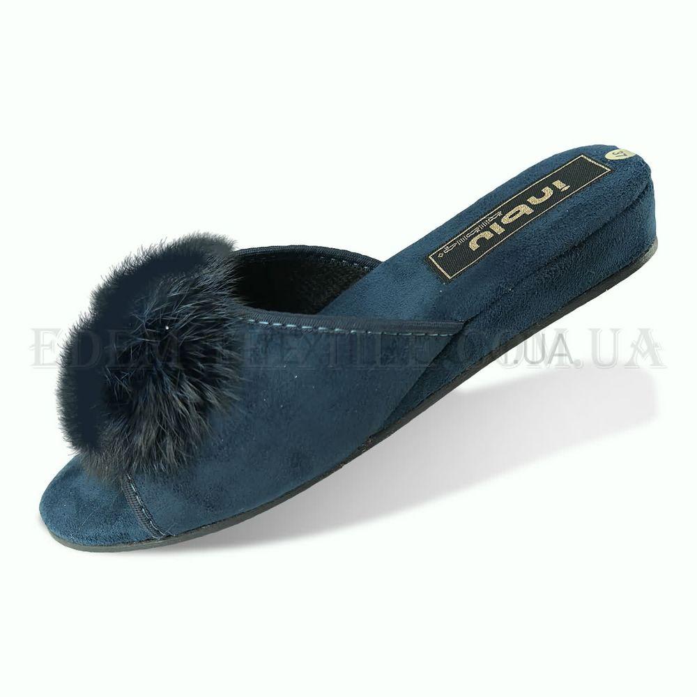 Жіночі тапочки на каблуку з пушком Inblu AP-1S Синій купити по Україні d20e232efd1a1
