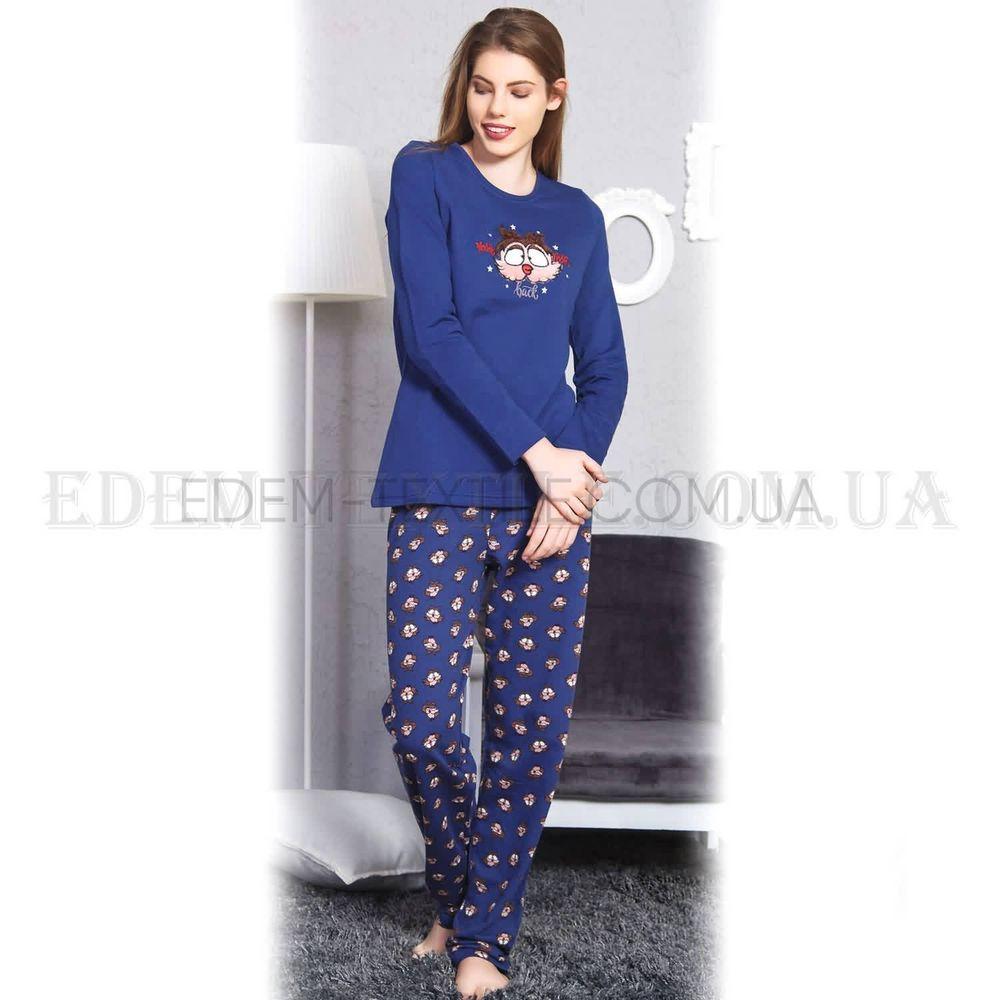 Теплая байковая женская пижама Сова Vienetta 6753 Синий Купить по ... e68c19c11d4fd