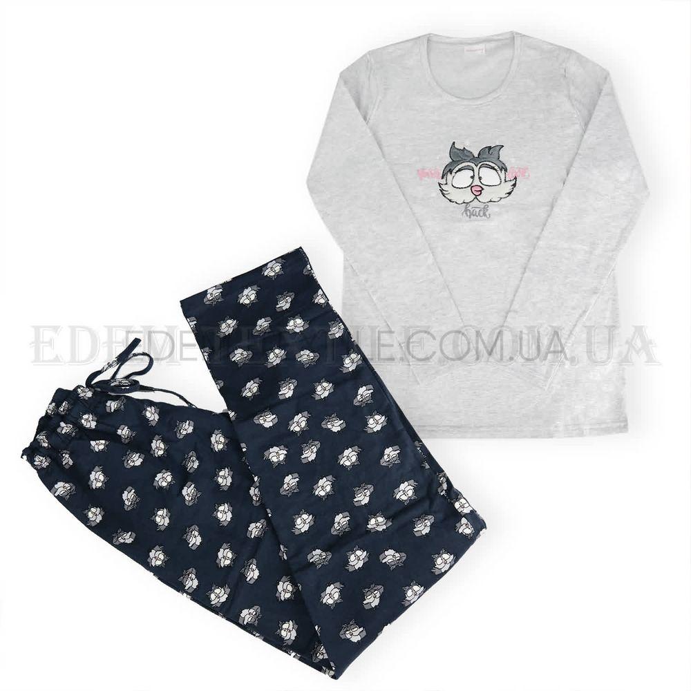 Теплая женская пижама на байке Сова Vienetta 6753 Серый Купить по ... d65b6ce122e1e