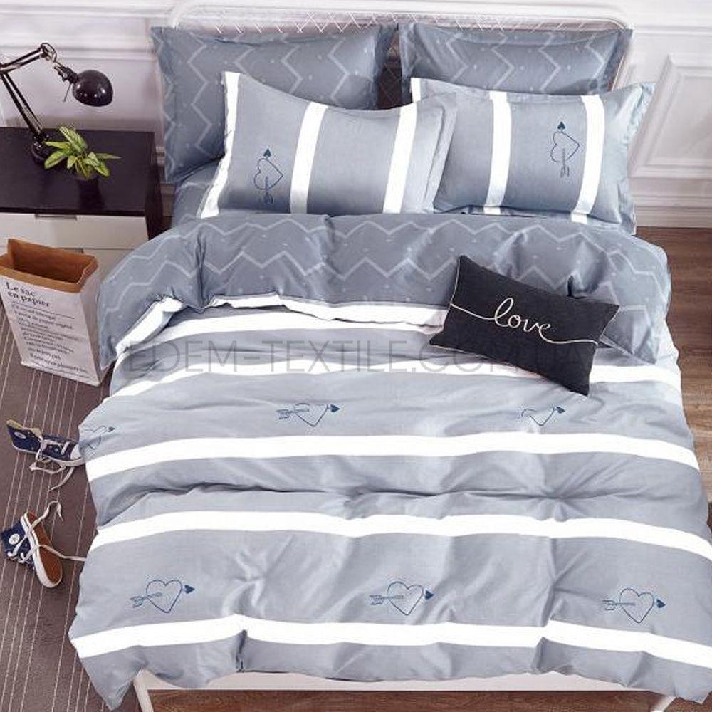 Постільна білизна для закоханих сатин євро Bella Villa B-0107 Сірий ... 0baee61a41c6e