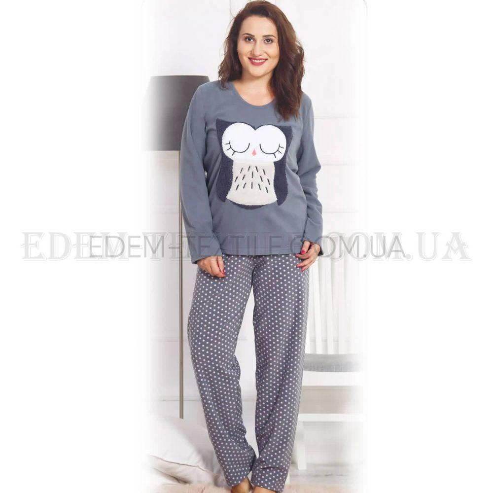 Флисовая теплая пижама для полных женщин Сова Серый Купить по Украине 1a00521b5ac31