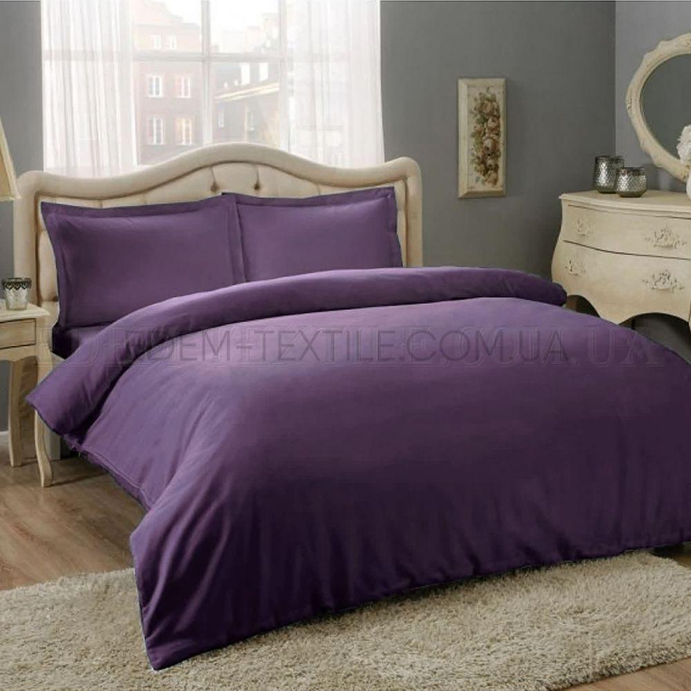Фіолетова однотонна постіль сатин євро Tac Basic Murdum Фіолетовий ... 278b9fb2ae79e