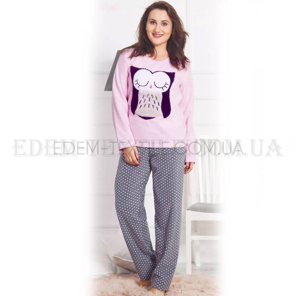 Флисовая теплая пижама Батал для женщин Сова Розовый Купить по Украине 88bb136bfbdcb