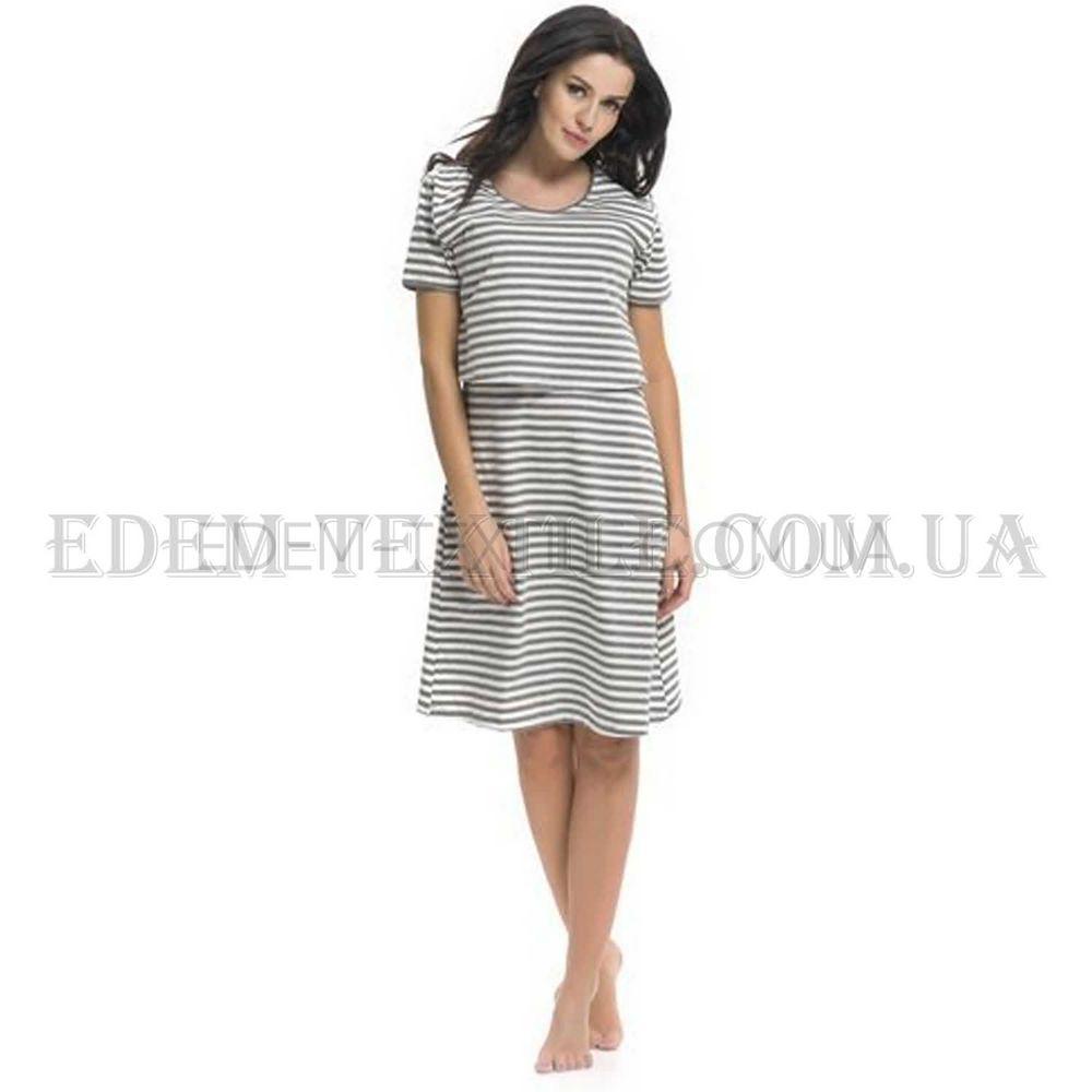 Полосатая ночная сорочка в роддом Dobranocka 9211 Серый Купить по ... 2b5804fe15a02