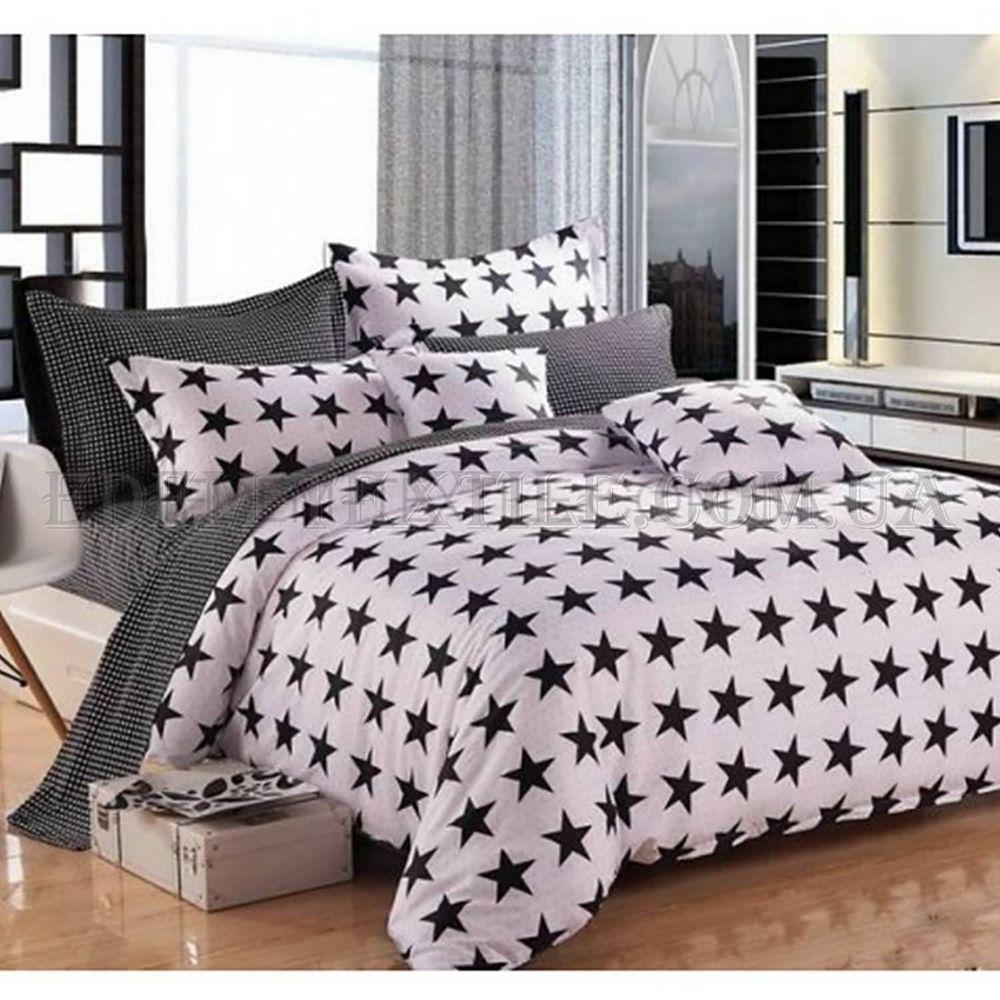 Постільна білизна Bella Villa 160х220 сатин B-0001 Чорно-білий ... a9f376de7191c
