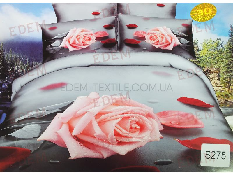 Постільна білизна Elway 200х220 сатин 3D Lux S-275 нав 50х70-2шт 70х70- a33a239bfc87d