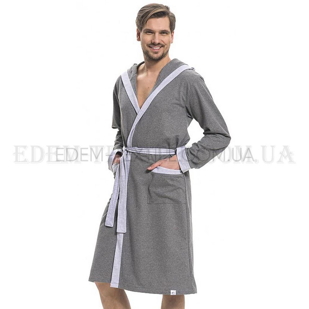 d5509fc4b96d Трикотажный мужской халат с капюшоном Dobranocka 9285 Серый, M ...
