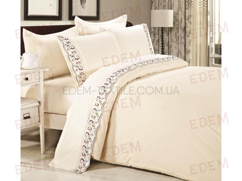 Постільна білизна Tiffany 200х220 сатин мереживо TF-B-0008 N Лілль Кремовий  купити по Україні 1537d5a20dda0