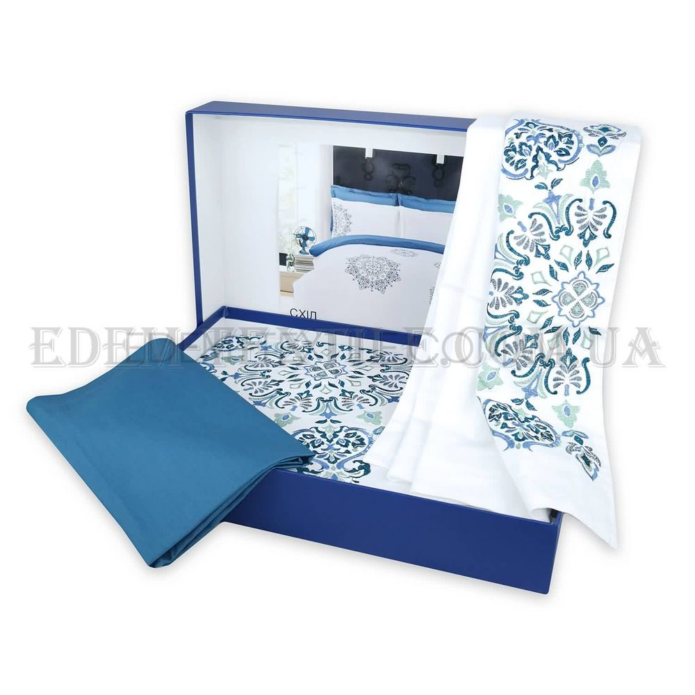 Постільна білизна Home Line 200х220 сатин Схід Синій купити по Україні 7a0fbabd07b21