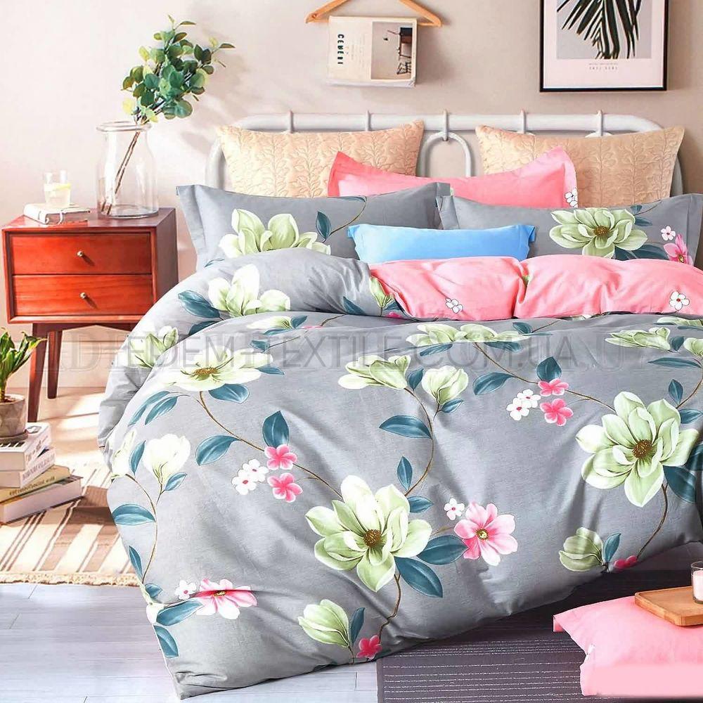 Двоспальна постіль з квітами ранфорс Viluta 17175 Сірий купити по ... e542306ccc4a1