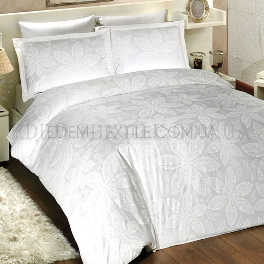 Біла красива постільна білизна сатин євро Blenda Білий купити по Україні 036b93e9a066b