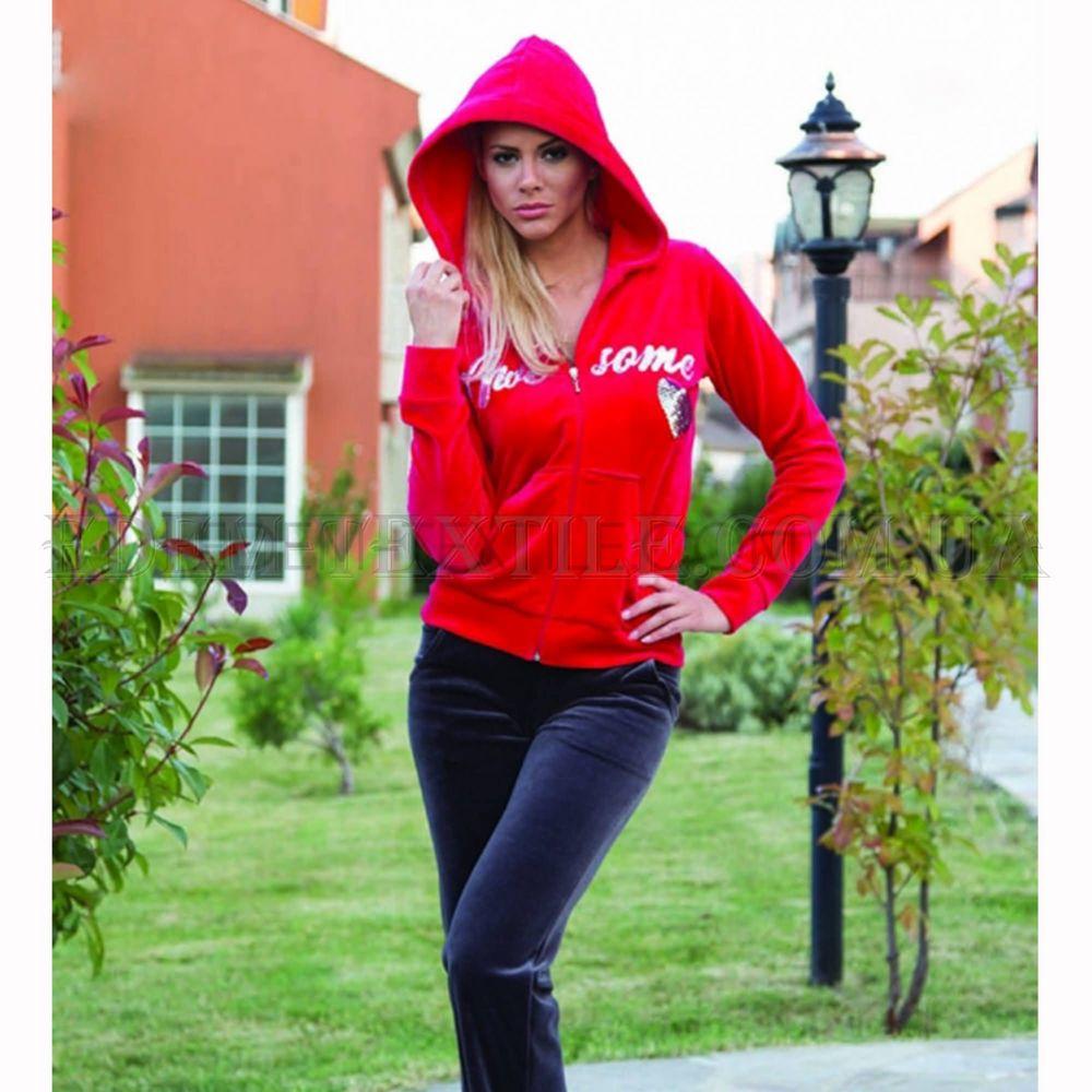 Домашній костюм жіночий велюровий Playnew 4912 Червоний купити по ... ea4fb2ad104a6
