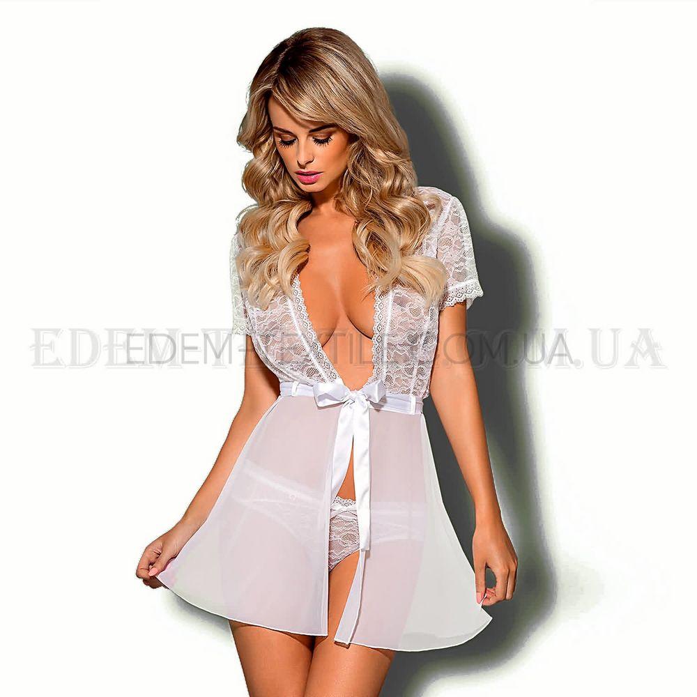 Пеньюар жіночий Obsessive Swanita Robe білий Білий купити по Україні 5865a1aa95134