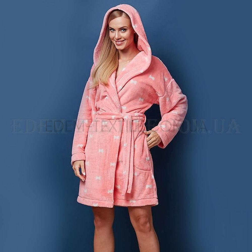 Короткий халат жіночий теплий з капюшоном L L Бантики персиковий ... 9c1bd187d4baa