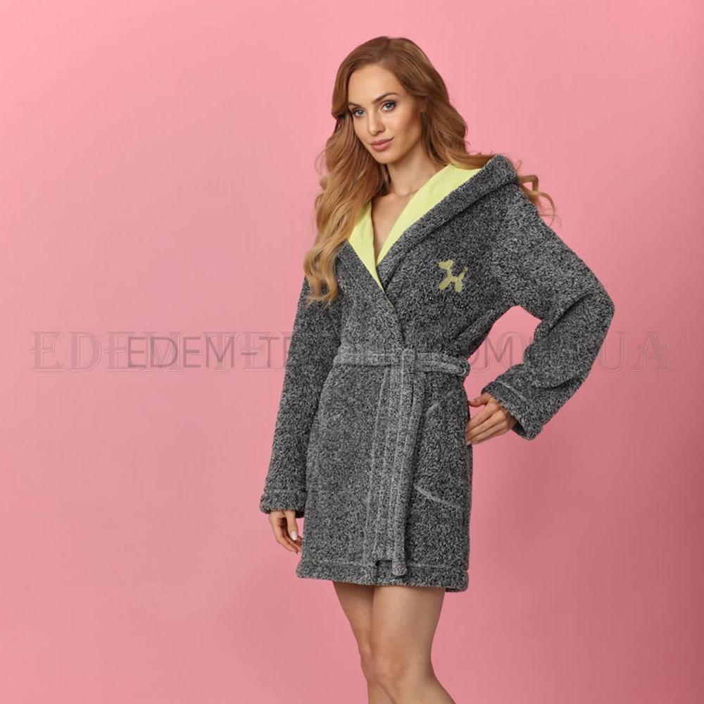 Жіночий теплий халат з капюшоном короткий L L 8121 купити по Україні 54cf87fd501df
