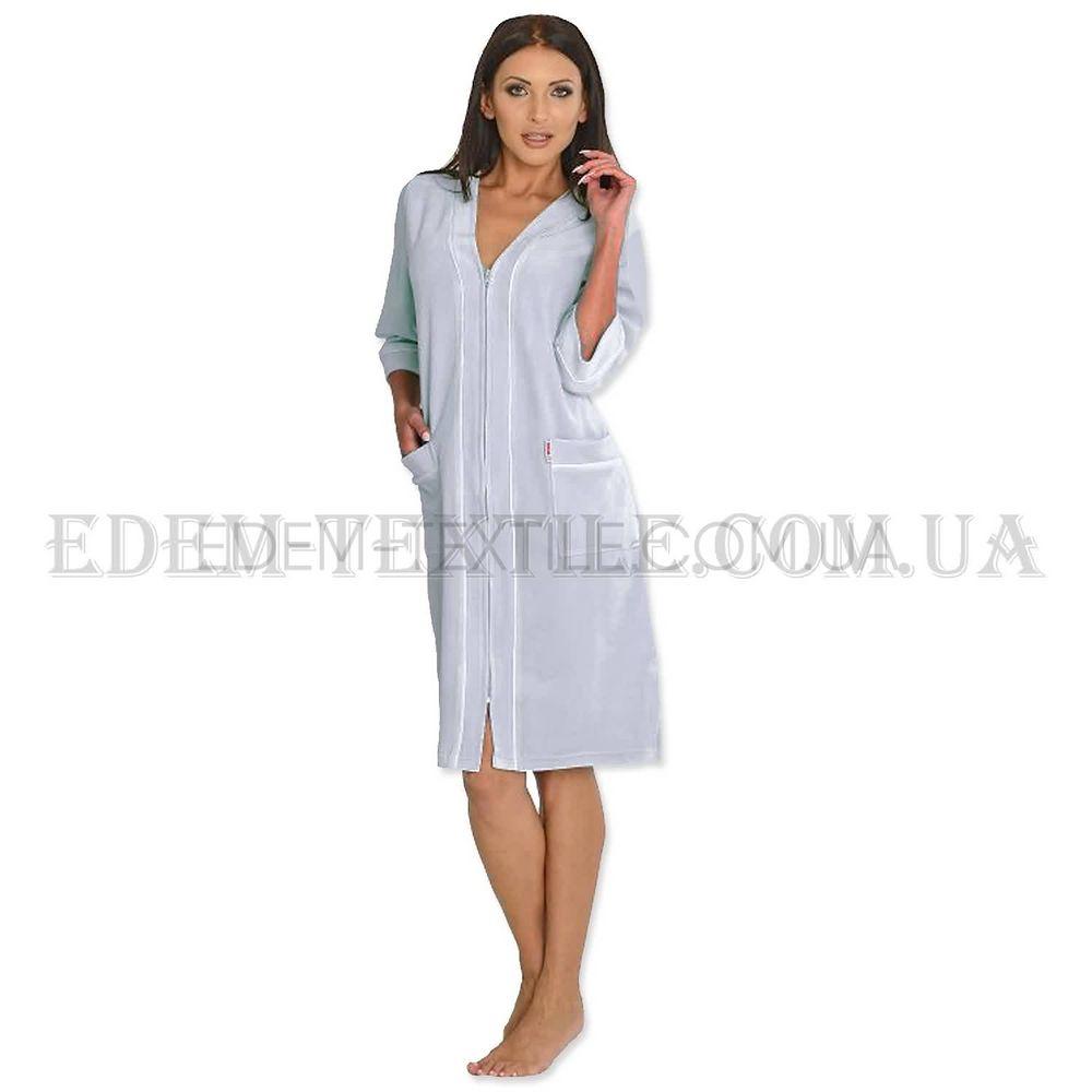 Халат жіночий на блискавці De Lafense Velur 974 сірий Сірий купити ... 4d8cd5a03a909