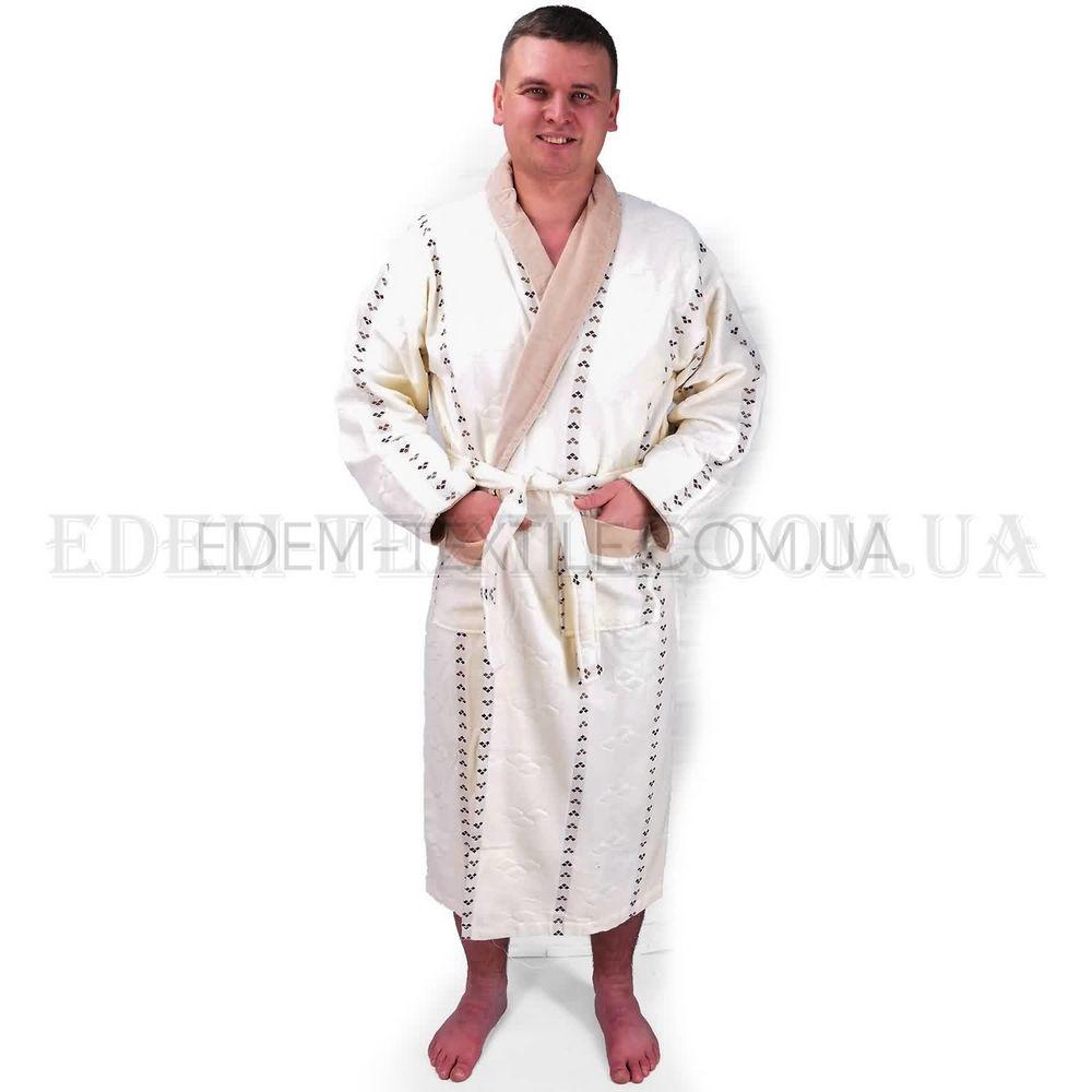 6510dde27dab3d Чоловічий халат кремовий з коміром Орнамент , XL Купити в Україні