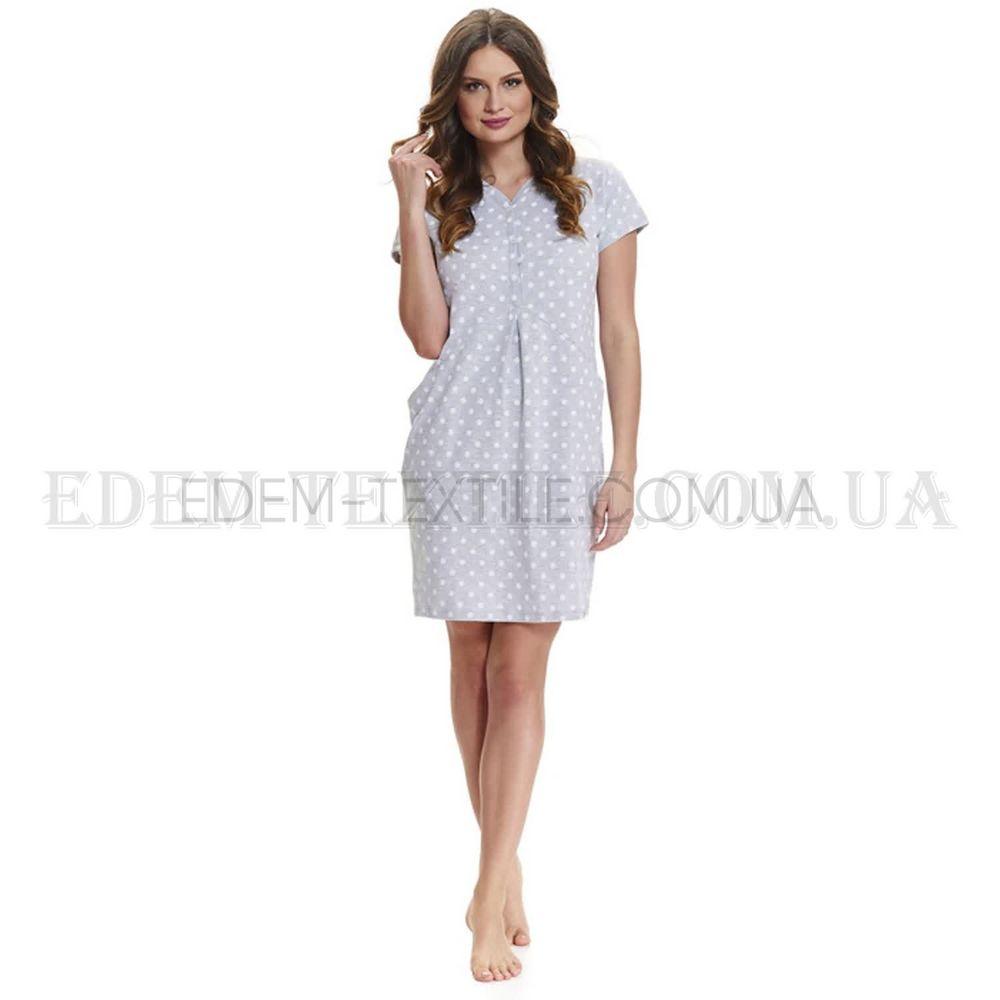 Нічна сорочка для вагітних в горох Dobranocka 9453 сірий 3aead25664831