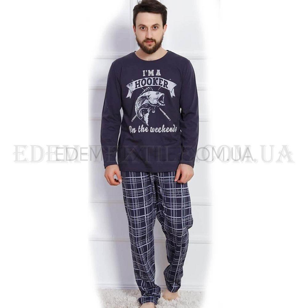 78239f8b8749a Стильная мужская пижама трикотажная Gazzaz Рыба Синий, M Купить в ...