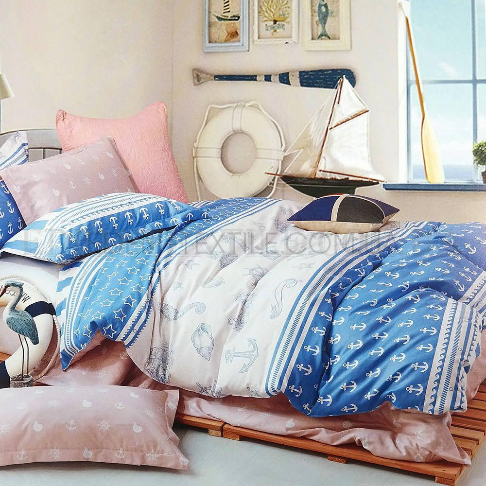 Постіль в морському стилі сатин 143х210 Viluta 121 Блакитний купити ... f5bc58927144e