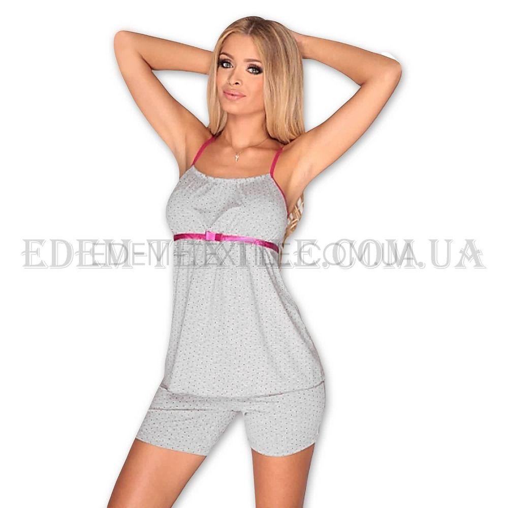 Пижама женская шорты майка De Lafense Kropki 915 Серый Купить по Украине 6420bb3b7e6c6