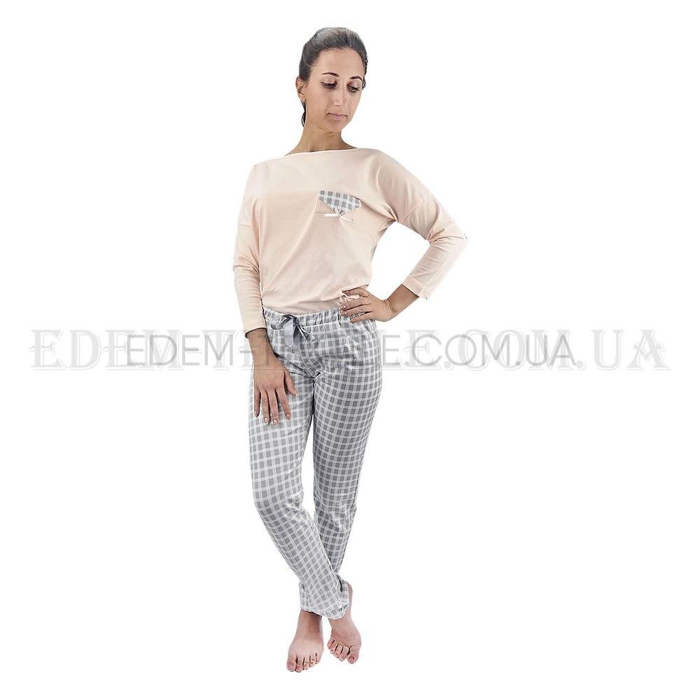 Стильна піжама жіноча з брюками в клітку Lush 1534 Пудровий купити ... 915dbc07051f1