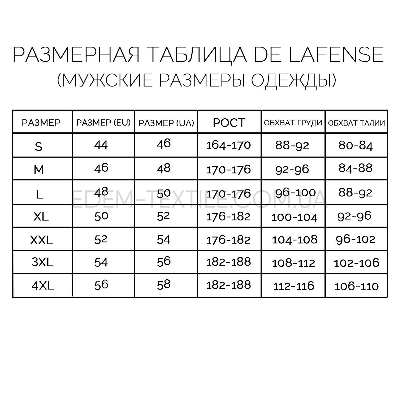 Размерная таблица мужских халатов De Lafense – Фото