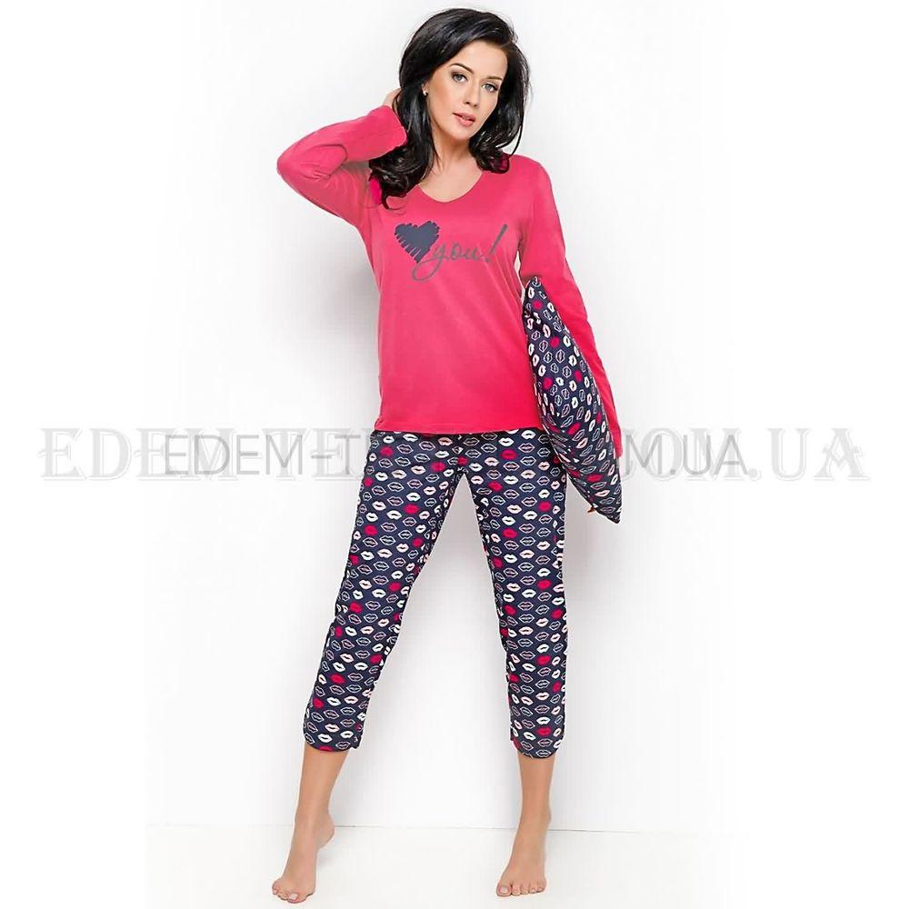 Женская пижама с укороченными брюками Felicja Малиновый Купить по ... 714bd8c5d8eff