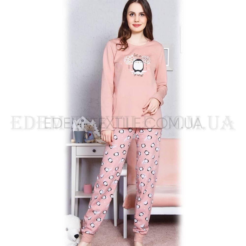 Зимняя байковая пижама с пингвинами Vienetta 4622 Пудровый Купить по ... 0e67251566c6b