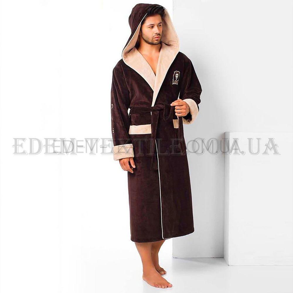 6e8e1ce7f66aed Елітний чоловічий халат Nusa 2930 коричневий Коричневий, M Купити в ...