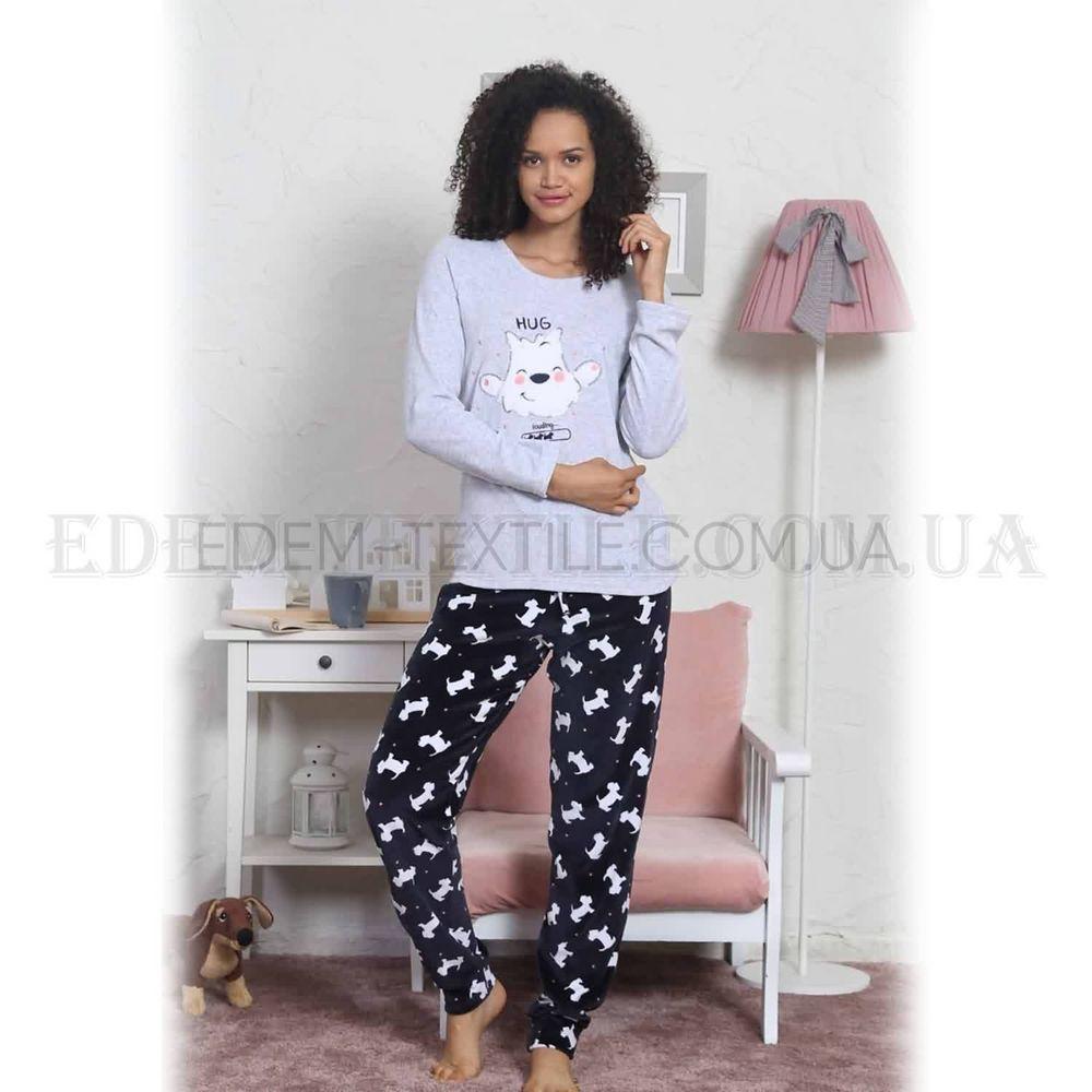 9d59b68720c Велюровый домашний костюм женский Vienetta 3697 Серый Купить по Украине