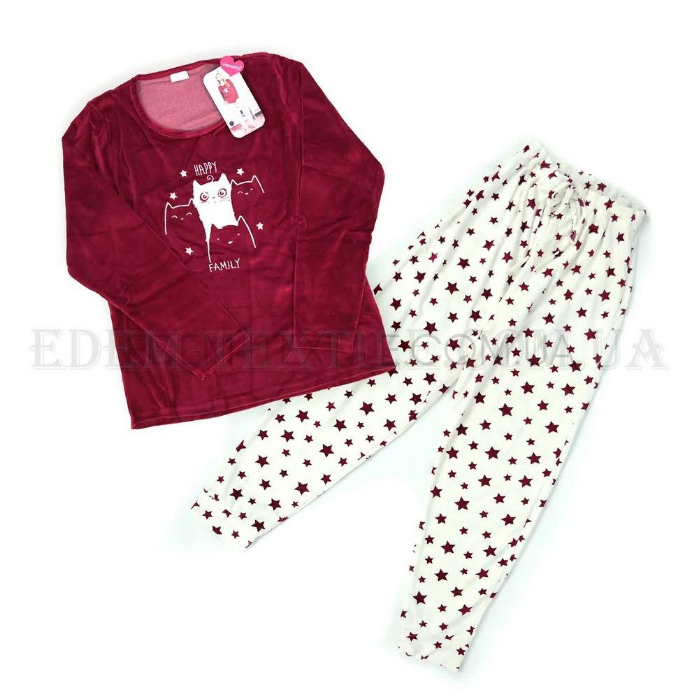 Велюровий домашній костюм в зірках Vienetta 3694 Бордовий купити по ... a359b1a369932