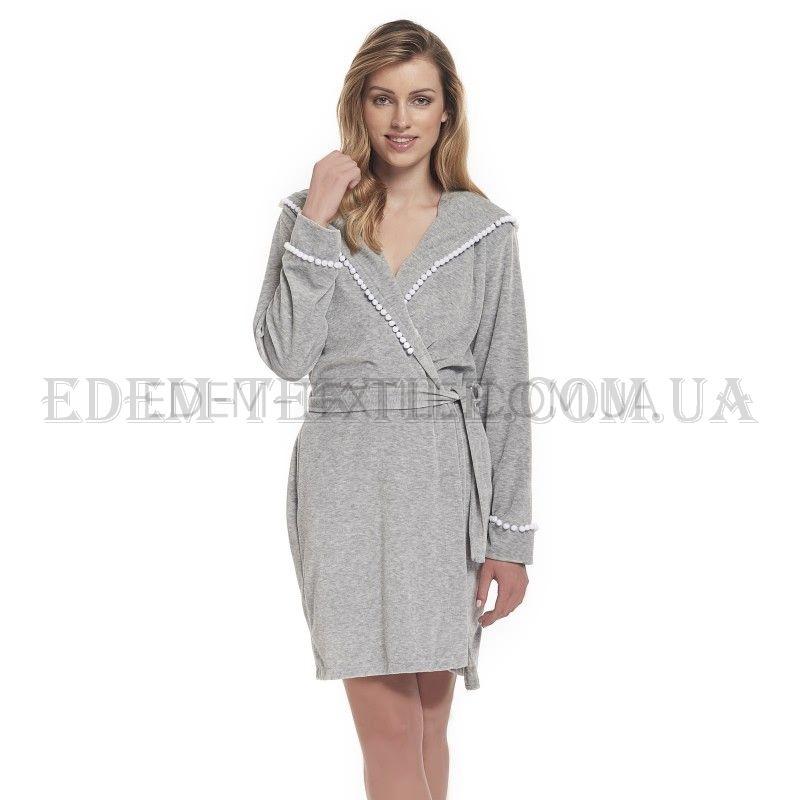 7dacafc757a Велюровый халат с запахом Dobranocka 9356 Серый Купить по Украине