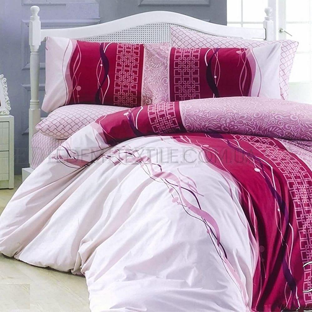 Двоспальна постільна білизна ранфорс Tag R2090 Рожево-фіолетовий ... 1bd67dcf354da