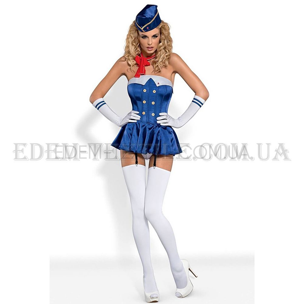 Еротичний костюм Obsessive Stewardess Gorset Синій купити по Україні 77bb0fa629e5a