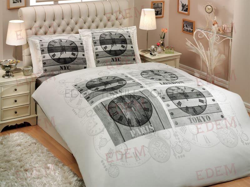 Постільна білизна Hobby сатин De Luxe 160х220 City Collection World Clock  білий Сірий купити по Україні 080bad4f76109