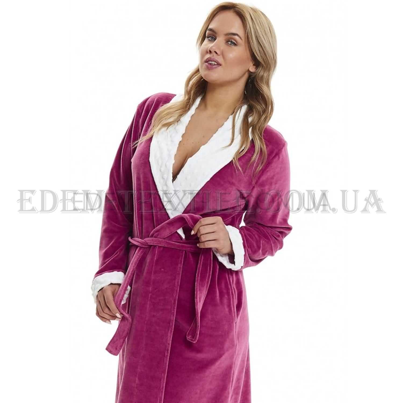 750abbc196b19 Халат женский велюровый шаль Dobranocka 9466 Брусничный, Купить в Украине
