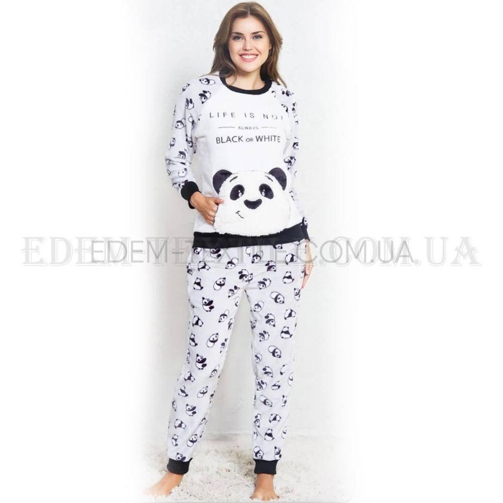 Теплая женская пижама Софт Панда Vienetta 3369 Белый Купить по Украине 73a548cd37420