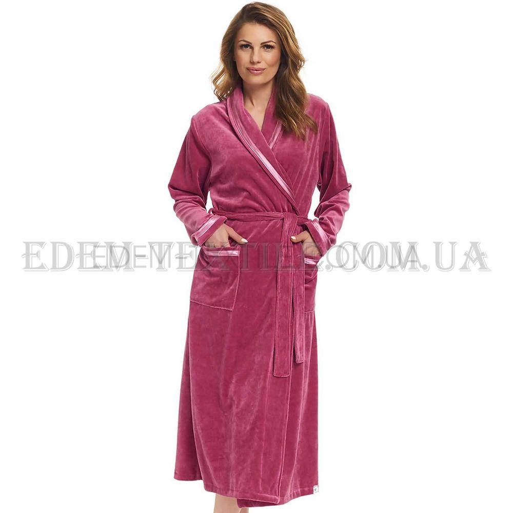ae8d5180b645 Стильный велюровый женский халат Dobranocka 1078 Брусничный, M ...