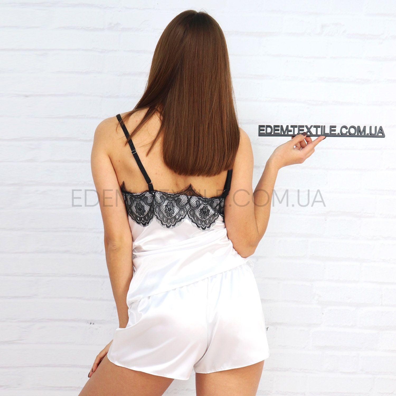 Атласная женская пижама шорты и маечка 02 Фото