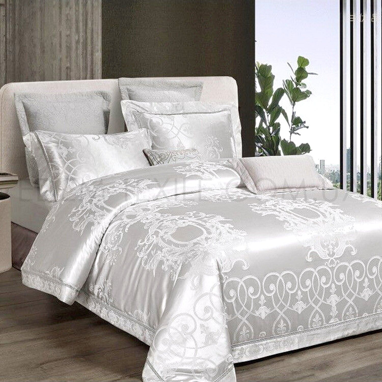 Белая жаккардовая постель с вышивкой J-0054 Фото