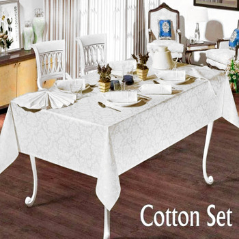 Фото Комплект скатерть и салфетки жаккард Cotton Set